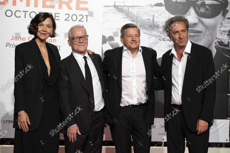Stock Picture of Maggie Gyllenhaal, Thierry Fremaux, Ted Sarandos and Paolo Sorrentino
