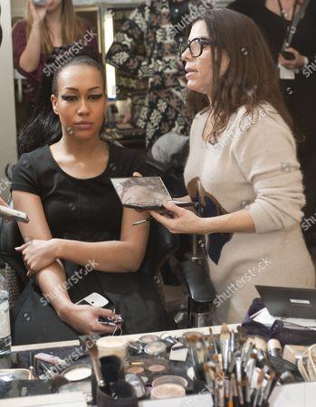 Stock Photo of Rebecca Ferguson with make-up artist Liz Martins