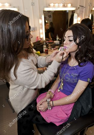 Stock Image of Cher Lloyd with make-up artist Liz Martins