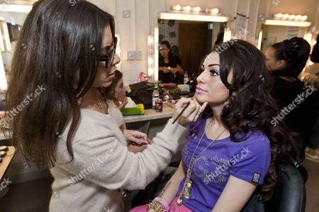 Stock Photo of Cher Lloyd with make-up artist Liz Martins