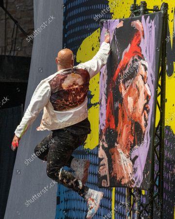 Editorial picture of David Garibaldi performance painter, Germania Insurance Amphitheater, Austin, Texas, USA - 29 Sep 2021