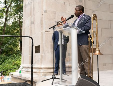 Lieutenant Governor Brian Benjamin speaks at Local 802 AFM Centennial celebration at Central Park. Musicians, union members of Local 802 could not perform live during heights of pandemic and therefore lost their income. They rely on support by the union and money allocated by the city, state and federal governments. Since the pandemic receded musicians again started to perform for the public and they celebrated the centennial of their union with elected officials and performing for the crowd in the park.