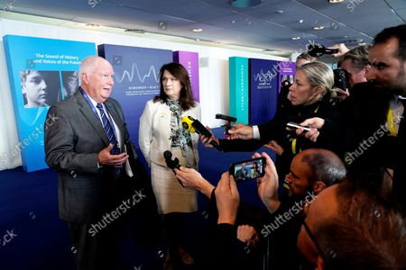 Stock Image of Andrew Baker (L) from the American Jewish Committee and Sweden's Foreign Minister Ann Linde (2-L) speak to the press at the Malmö International Forum on Holocaust Remembrance and Combating Antisemitism - REACT, in Malmo, Sweden, 13 October 2021.