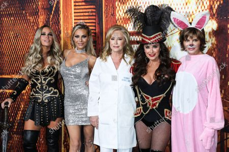 Television personalities Teddi Mellencamp Arroyave, Dorit Kemsley, Kathy Hilton, Kyle Richards and Lisa Rinna arrive at the Costume Party Premiere Of Universal Pictures' 'Halloween Kills' held at the TCL Chinese Theatre IMAX on October 12, 2021 in Hollywood, Los Angeles, California, United States.