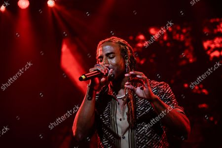 Stock Picture of Yotuel Romero performs at the 2021 Hispanidad Concert held on October 12, 2021, at the Wizink Center, Madrid, Spain, organized by the Instituo del Espanol de la Comunidad de Madrid.