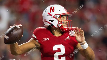 Nebraska quarterback Adrian Martinez (2) passes the ball against Michigan during the second half of an NCAA college football game, at Memorial Stadium in Lincoln, Neb