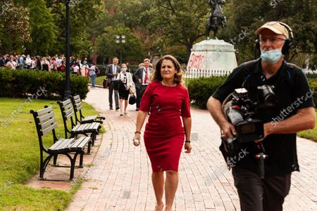 Editorial photo of Canadian Finance Minister Chrystia Freeland Flees Presser During Protest By Indigenous Leaders At White House, Washington, United States - 13 Oct 2021