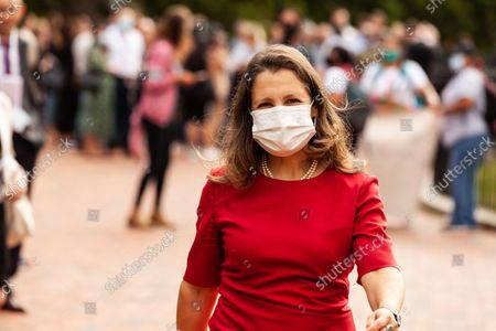 Editorial image of Canadian Finance Minister Chrystia Freeland Flees Presser During Protest By Indigenous Leaders At White House, Washington, United States - 13 Oct 2021