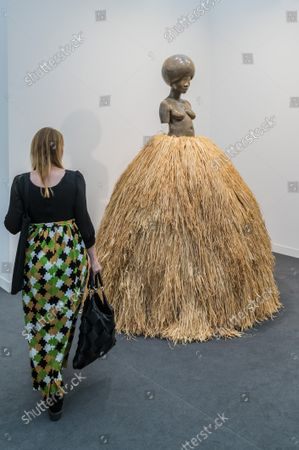 Stock Image of Simone Leigh, Village Series, on Hauser and Wirth - Frieze Art London 2021, Regents Park, London.  The fair is open to the public 14-18 October.
