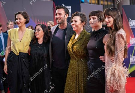 Stock Photo of Maggie Gyllenhaal, Producer Osnat Handelsman-Keren, Producer Charles Dorfman, Olivia Colman, Jessie Buckley and Dakota Johnson
