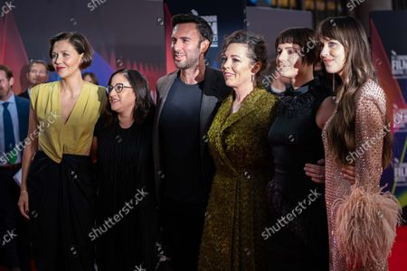 Stock Picture of Maggie Gyllenhaal, Producer Osnat Handelsman-Keren, Producer Charles Dorfman, Olivia Colman, Jessie Buckley and Dakota Johnson