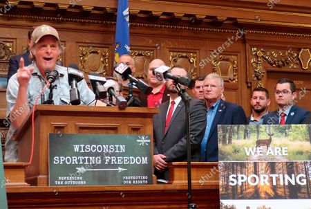 Rocker Ted Nugent joined with more than 20 Wisconsin Republican lawmakers in advocating for a package of hunting bills that would, among other things, create a sandhill crane hunting season and allow for concealed weapons to be carried without a permit,, in the Wisconsin state Assembly chamber in Madison, Wis