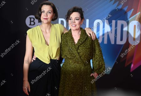 Maggie Gyllenhaal (L) and British actress and cast-member Olivia Coleman attend the screening of 'The Lost Daughter' during the BFI London Film Festival at the Royal Festival Hall in London, Britain, 13 October 2021. The British Film Institute festival runs from 06 to 17 October.