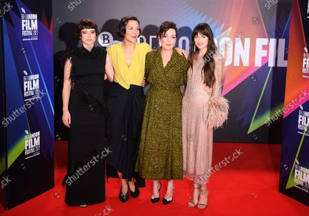 Jessie Buckley, Maggie Gyllenhaal, Olivia Coleman and Dakota Johnson attend the screening of 'The Lost Daughter' during the BFI London Film Festival at the Royal Festival Hall in London, Britain, 13 October 2021. The British Film Institute festival runs from 06 to 17 October.