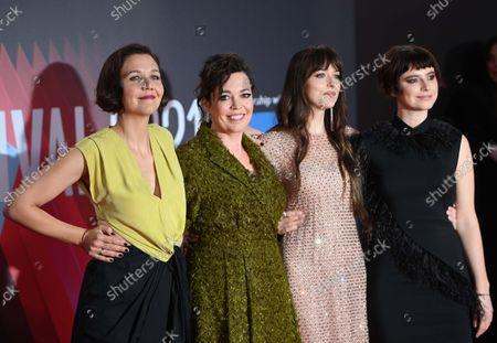 Maggie Gyllenhaal, Olivia Coleman, Dakota Johnson, and Jessie Buckley attend the screening of 'The Lost Daughter' during the BFI London Film Festival at the Royal Festival Hall in London, Britain, 13 October 2021. The British Film Institute festival runs from 06 to 17 October.