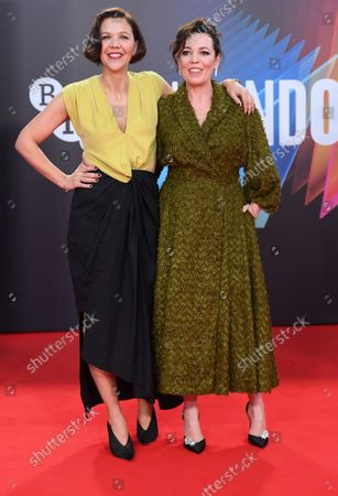 Stock Picture of American actress/ director Maggie Gyllenhaal and british actress Olivia Coleman attend the premiere of The Lost Daughter at the 65th BFI London Film Festival on October 13, 2021.