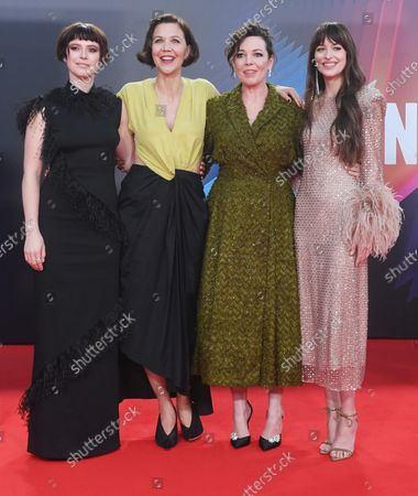 British actress Jessie Buckley, American actress/ director Maggie Gyllenhaal, british actress Olivia Coleman and american actress Dakota Johnson attend the premiere of The Lost Daughter at the 65th BFI London Film Festival on October 13, 2021.