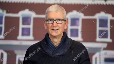 Apple's CEO Tim Cook speaks during a news conference, in Salt Lake City. Cook and NBA All-Star Dwyane Wade joined Utah leaders to announce the completion of a local advocacy group's campaign to build eight new homes for LGBTQ youth in the U.S. West