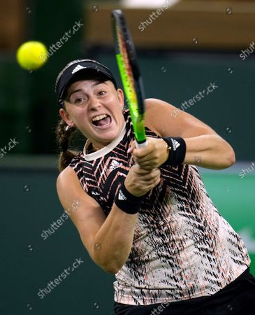 Stock Photo of Jelena Ostapenko of Latvia in action against Shelby Rogers of the US at the BNP Paribas Open tennis tournament at the Indian Wells Tennis Garden in Indian Wells, California, USA, 13 October 2021.