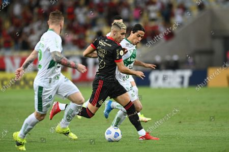 ANdreas Pereira of Flamengo fights for the ball with players of Juventude during the Campeonato Brasileiro (Brazilian National League) football match between Flamengo v Juventude at the Maracana Stadium in Rio de Janeiro, Brazil, on October 13, 2021.
