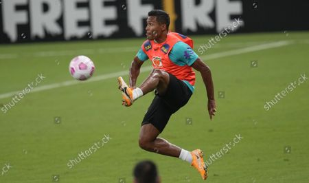 Brazil's Alex Sandro practices during a training session in Manaus, Brazil, . Brazil will face Uruguay in a qualifying soccer match for the FIFA World Cup Qatar 2022 in Manaus on Thursday