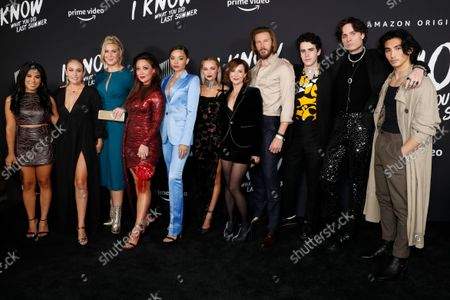 Chrissie Fit, US actress Danielle Delaunay, US actress Cassie Beck, US actress Fiona Rene, US model Ashley Moore, US actress Madison Iseman, US actor Bill Heck, US actor Ezekiel Goodman, US singer-songwriter Spencer Sutherland and US actor Sebastian Amoruso attend the premiere of Amazon Prime's new series 'I Know What You Did Last Summer' at the Hollywood Roosevelt Hotel in Los Angeles, California, USA, 13 October 2021. The series will be released on Amazon Prime on 15 October 2021.