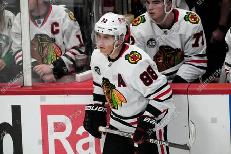 Chicago Blackhawks right wing Patrick Kane (88) in the second period of an NHL hockey game, in Denver