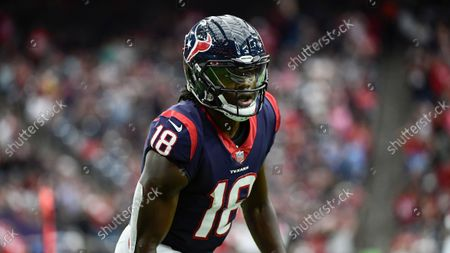 Stock Image of Houston Texans wide receiver Chris Conley (18) gets up after being tackled in the red zone against the New England Patriots during the first half of an NFL football game, in Houston