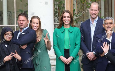 Stock Picture of Prince William and Catherine Duchess of Cambridge, Steve Backshall, Helen Glover and Sadiq Khan visit Kew Gardens to take part in a Generation Earthshot event with children from The Heathlands School, Hounslow to generate big, bold ideas to repair the planet and to help spark a lasting enthusiasm for the natural world