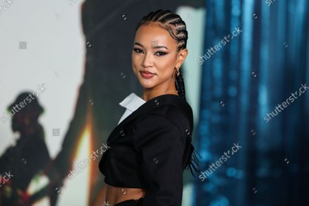 Actress Karrueche Tran arrives at the Los Angeles Premiere Of Netflix's 'The Harder They Fall' held at the Shrine Auditorium and Expo Hall on October 13, 2021 in Los Angeles, California, United States.
