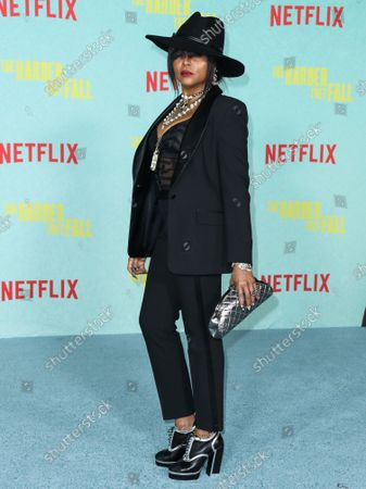 Actress Taraji P. Henson arrives at the Los Angeles Premiere Of Netflix's 'The Harder They Fall' held at the Shrine Auditorium and Expo Hall on October 13, 2021 in Los Angeles, California, United States.