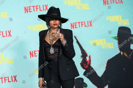 Stock Picture of Actress Taraji P. Henson arrives at the Los Angeles Premiere Of Netflix's 'The Harder They Fall' held at the Shrine Auditorium and Expo Hall on October 13, 2021 in Los Angeles, California, United States.