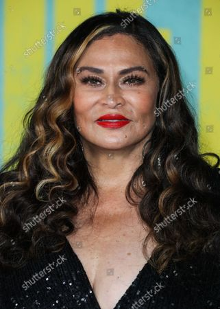 Stock Picture of Businesswoman Tina Knowles Lawson arrives at the Los Angeles Premiere Of Netflix's 'The Harder They Fall' held at the Shrine Auditorium and Expo Hall on October 13, 2021 in Los Angeles, California, United States.