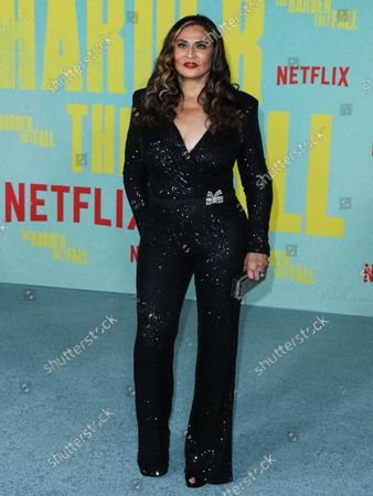 Stock Image of Businesswoman Tina Knowles Lawson arrives at the Los Angeles Premiere Of Netflix's 'The Harder They Fall' held at the Shrine Auditorium and Expo Hall on October 13, 2021 in Los Angeles, California, United States.