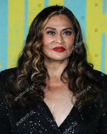 Businesswoman Tina Knowles Lawson arrives at the Los Angeles Premiere Of Netflix's 'The Harder They Fall' held at the Shrine Auditorium and Expo Hall on October 13, 2021 in Los Angeles, California, United States.