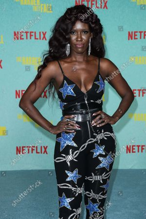 Stock Image of Bozoma Saint John arrives at the Los Angeles Premiere Of Netflix's 'The Harder They Fall' held at the Shrine Auditorium and Expo Hall on October 13, 2021 in Los Angeles, California, United States.