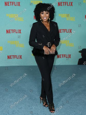 Stock Photo of Actress Zee James arrives at the Los Angeles Premiere Of Netflix's 'The Harder They Fall' held at the Shrine Auditorium and Expo Hall on October 13, 2021 in Los Angeles, California, United States.