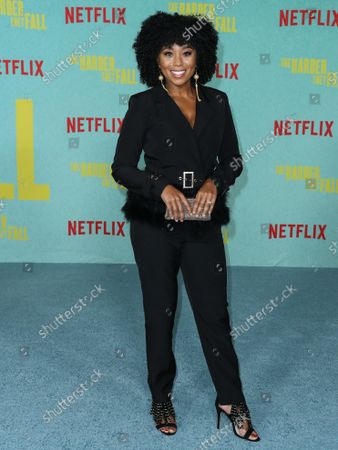 Stock Image of Actress Zee James arrives at the Los Angeles Premiere Of Netflix's 'The Harder They Fall' held at the Shrine Auditorium and Expo Hall on October 13, 2021 in Los Angeles, California, United States.