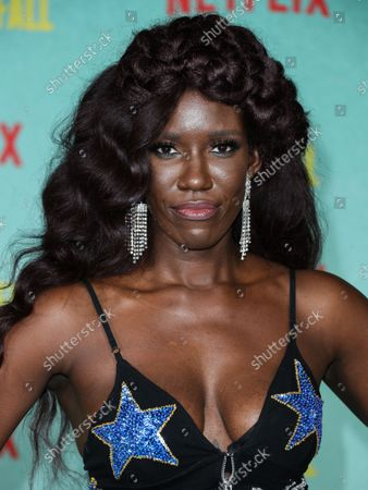 Stock Photo of Bozoma Saint John arrives at the Los Angeles Premiere Of Netflix's 'The Harder They Fall' held at the Shrine Auditorium and Expo Hall on October 13, 2021 in Los Angeles, California, United States.