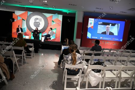 Stock Photo of Jose Luis Los Arcos, Univision Communications, Vice President, Sports Partner Solutions (Moderator), Angela Zepeda, Chief Marketing Officer, Hyundai Motor America and Olek Loewenstein, Univision Communications, President, Sports Content