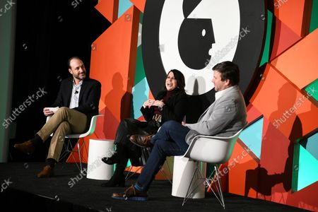 Stock Picture of Jose Luis Los Arcos, Univision Communications, Vice President, Sports Partner Solutions (Moderator), Angela Zepeda, Chief Marketing Officer, Hyundai Motor America and Olek Loewenstein, Univision Communications, President, Sports Content