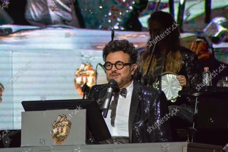 Stock Photo of Mexican singer Aleks Syntek performs on stage a show during the 50th anniversary of Plaza Satelite mall at Plaza Sataelite