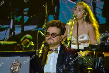 Mexican singer Aleks Syntek performs on stage a show during the 50th anniversary of Plaza Satelite mall at Plaza Sataelite