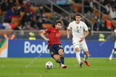 (L-R) Marcos Alonso (ESP), Benjamin Pavard (FRA) - Football / Soccer : UEFA Nations League final match between Spain 1-2 France at the Stadio San Siro in Milan, Italy.