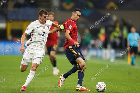 (L-R) Benjamin Pavard (FRA), Sergio Busquets (ESP) - Football / Soccer : UEFA Nations League final match between Spain 1-2 France at the Stadio San Siro in Milan, Italy.