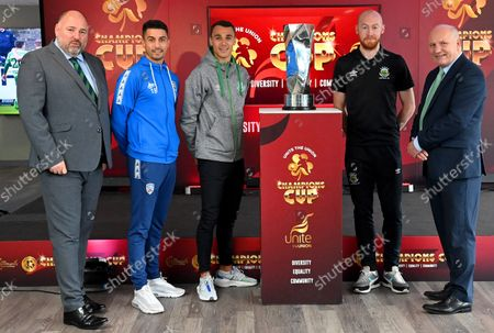 Pictured (L-R) IFA President Conrad Kirkwood, Coleraine's Aaron Traynor, Shamrock Rovers' Graham Burke, Linfield's Chris Shields and FAI President Gerry McAnaney
