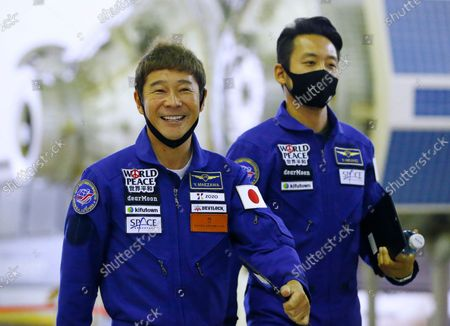 Space flight participants Yusaku Maezawa (L) and Yozo Hirano (R) attend a training ahead of the expedition to the International Space Station, in Star City, Russia, 14 October 2021. Japanese entrepreneur Yusaku Maezawa and his production assistant Yozo Hirano, led by Roscosmos cosmonaut Alexander Misurkin, will take part in a mission to the International Space Station (ISS) scheduled for 08 December 2021.