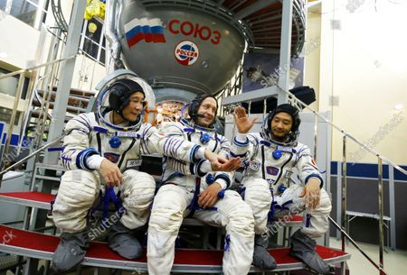 Stock Photo of Roscosmos cosmonaut Alexander Misurkin (C), space flight participants Yusaku Maezawa (L) and Yozo Hirano (R) attend a training session ahead of the expedition to the International Space Station, in Star City, Russia, 14 October 2021. Japanese entrepreneur Yusaku Maezawa and his production assistant Yozo Hirano, led by Roscosmos cosmonaut Alexander Misurkin, will take part in a mission to the International Space Station (ISS) scheduled for 08 December 2021.