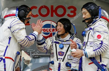 Roscosmos cosmonaut Alexander Misurkin (L), space flight participants Yusaku Maezawa (C) and Yozo Hirano (R) attend a training session ahead of the expedition to the International Space Station, in Star City, Russia, 14 October 2021. Japanese entrepreneur Yusaku Maezawa and his production assistant Yozo Hirano, led by Roscosmos cosmonaut Alexander Misurkin, will take part in a mission to the International Space Station (ISS) scheduled for 08 December 2021.