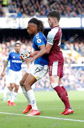 Stock Picture of Alex Iwobi of Everton and Declan Rice of West Ham United